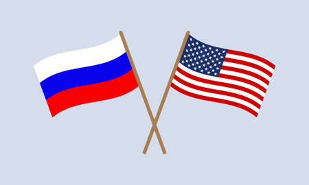 Russia and USA crossed flags on stick. Russian and American national symbols. Vector illustration.