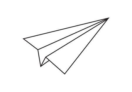 Paper plane line icon. Outline airplane. Vector illustration. Ilustração