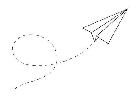 Paper plane following a path. Airplane track or route with dotted lines. Vector illustration.