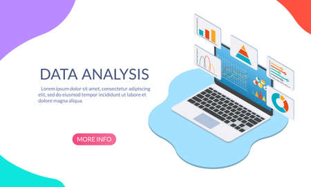 Business strategy and data analysis concept. Laptop or computer with graphs, chart and diagram. Isometric design. Technology, finance and research information for analytic. Vector illustration.