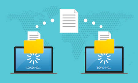File transfer concept. Two Laptop computers with folders send and upload documents. File copy, data or information exchange design. Vector illustration.
