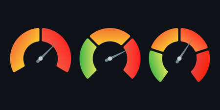 Speedometer icon set. Gauge, meter or progress indicator with arrow. Vector illustration.