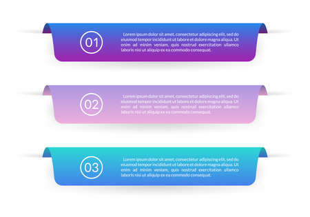 Ribbon banner design. Infographic labels or tabs with 3 options, levels or steps and space for text. Graphic elements for web, information brochure and business presentation. Vector illustration.