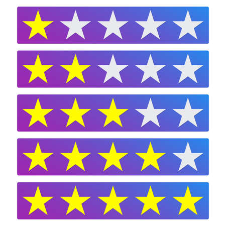 Star rating icons. 5 stars in the row for review. Vector illustration. 矢量图像