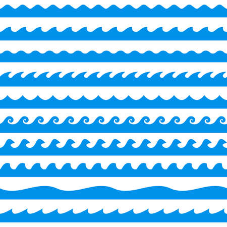 Water wave set. Line waves seamless pattern collection. Sea and Ocean graphic design. Vector illustration.