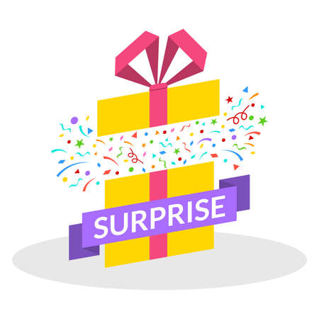 Surprise Gift box with ribbon, bow and confetti fireworks. Open present box for Sale banner, Christmas or Birthday card. Magic package concept. Vector illustration.