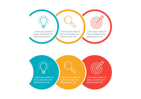 Info graphic for business presentation with 3 steps or option. Timeline infographics template with colorful circles and outline icons. Three parts for workflow layout design. Vector illustration. 向量圖像