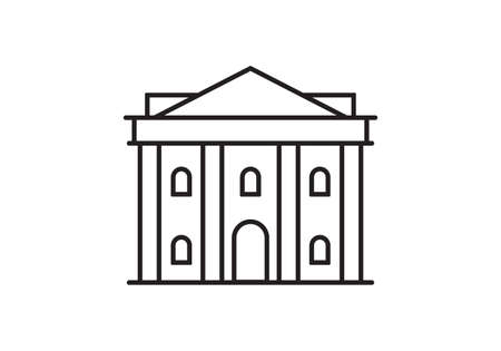 Bank outline icon. Classic building exterior with pillars or columns. Government, courthouse, museum or theater symbol. Vector illustration.