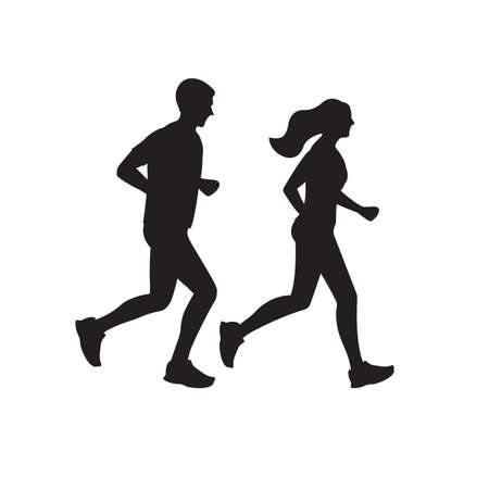 Running man and woman silhouettes. Couple jogging. Marathon race concept. Sport and fitness design template with runners in flat style. Vector illustration.