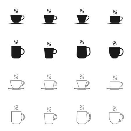 Coffee and tee cup icon set. Hot drink mug silhouettes with steam. Vector illustration.