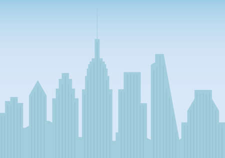 City skyline. Buildings silhouettes. Cityscape background. Urban landscape with skyscrapers. Vector illustration.