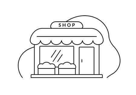 Store outline icon. Shop front sign. Retail business building. Vector illustration.