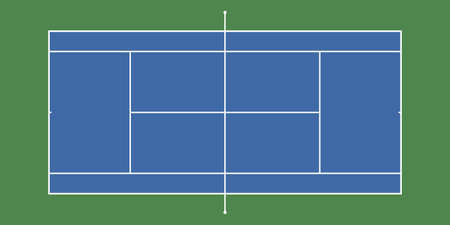 Tennis court backround with exact proportions. Top view. Vector illustration.