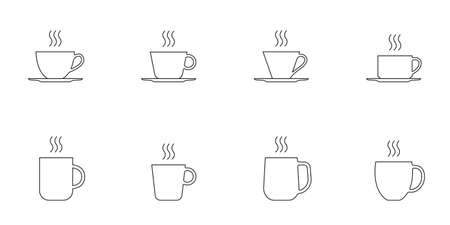Coffee and tee cup outline icon set. Hot drink mug silhouettes with steam. Vector illustration. Illustration