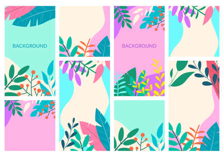 Story design template set for social media. Spring and summer frame background. Floral or jungle backdrop with leaves and plants for poster, banner, card, flyer of cover. Vector illustration. Illustration