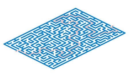 Labyrinth game. 3D Maze or puzzle design. Find the way and right solution for exit. Vector illustration. Illustration