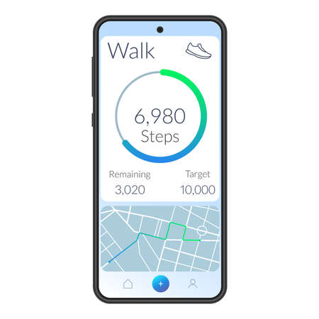 Fitness app interface with running or walk steps counter on the mobile phone screen. Ui and Ux design for health analytics. Activity dashboard with walking tracker on the Smartphone. Vector illustration.