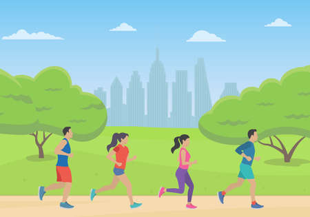People running in the park with cityscape. Men and Women jogging. Marathon race concept. Sport and fitness design template with runners and athletes in flat style. Vector illustration.