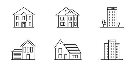 Home or house icon set. Outline residential buildings. Vector illustration.