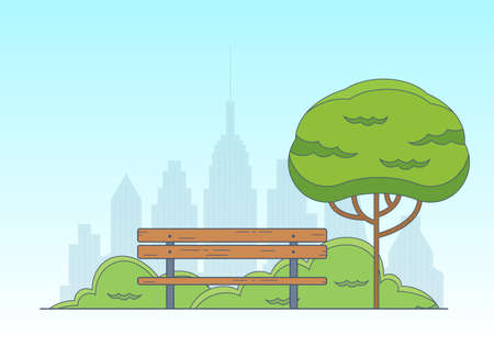 City park background. Garden landscape with bench, green tree and cityscape. Public park emblem. Vector illustration.