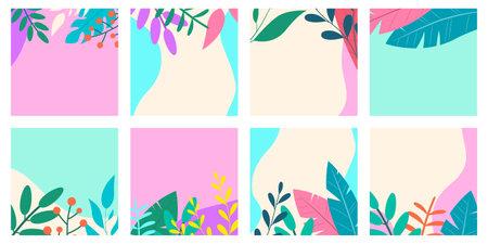 Social media post frame background with leaves or plants. Floral backdrops set. Spring and summer cover, poster, banner, card or flyer template. Vector illustration. Ilustração