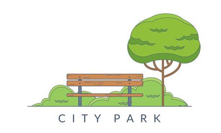 City park background. Garden landscape with bench and tree. Public park emblem. Vector illustration.