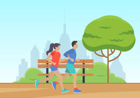 Men and Women running in the park with cityscape. Couple jogging. Marathon race concept. Sport and fitness design template with runners and athletes in flat style. Vector illustration. Illustration