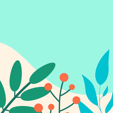 Social media post frame background with leaves or plants. Floral backdrops. Spring and summer cover, poster, banner, card or flyer template. Vector illustration. Illustration
