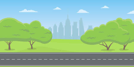 Road or highway in the city park or countryside with cityscape. Landscape with green trees, grass and sky. Vector illustration.