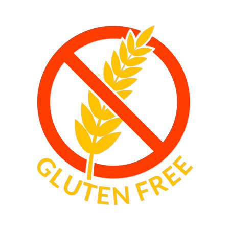 Gluten fee icon. Healthy food without wheat or grain symbol. Cereal allergy and diet logo. Vector illustration.