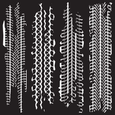 Tire tracks set with dirty grunge texture. Wheel tire tread print. Vector illustration.