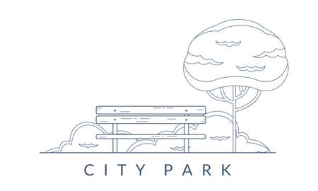 City park outline background. Garden landscape with bench and tree. Public park emblem. Vector illustration. Illustration