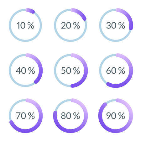Percentage pie chart set. Circle percent diagram or chart with progress bar. Infographic design template for business process, data statistic, web loading process. Vector illustration. Illustration