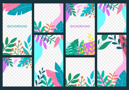 Story design template set for social media. Spring and summer frame background. Floral or jungle backdrop with leaves and plants for poster, banner, card, flyer of cover. Illustration