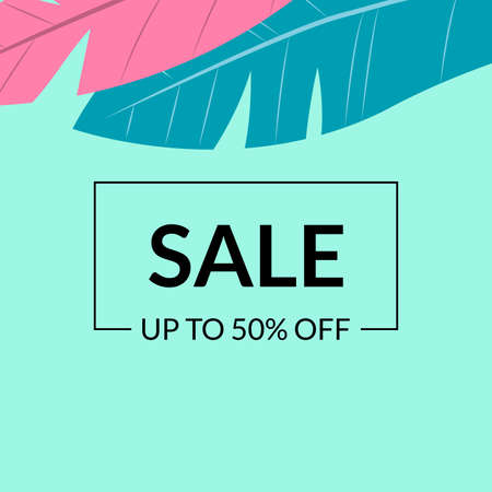 Sale banner template with leaves. Floral discount background with price off for promo card, flyer or poster. Spring and summer Social media backdrop for ad. Vector illustration. Ilustração