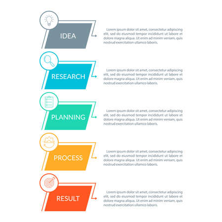 5 steps, option or levels infographic design with business icons. Vertical timeline info graphic template for presentation, information brochure, banner, workflow layout. Vector illustration.