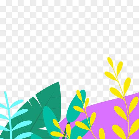 Social media post frame background with leaves or plants. Floral backdrops. Spring and summer cover, poster, banner, card or flyer template. Vector illustration. Ilustração