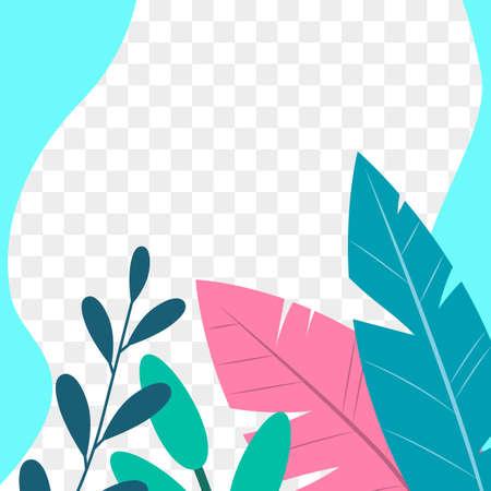 Social media post frame background with leaves or plants. Floral backdrops.  Vector illustration. Ilustração