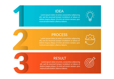 3 steps info graphic with business icons and copy space. Infographics template with outline numbers. Three parts or options for menu and workflow layout design. Vector illustration. Ilustração