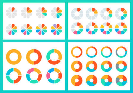 Pie chart set. Circle diagram design. Circular graph with 2, 3, 4, 5, 6 steps for business presentation. Progress or loading wheel template. Vector illustration.
