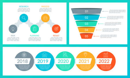Business presentation template with funnel diagram, timeline info graphic with 5 steps. Infographic elements for presentation, information brochure, banner, workflow layout. Vector illustration.