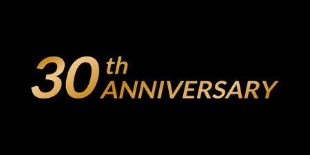 30 years anniversary logo. 30th birthday celebration golden icon. Vector illustration.