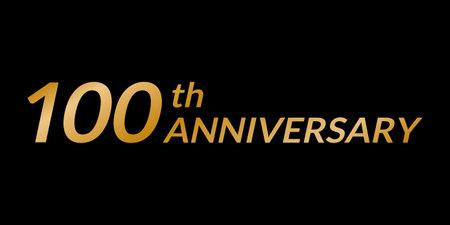 100 years anniversary logo. 100th birthday celebration golden icon. Vector illustration. Ilustração
