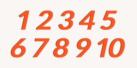 Number set. Modern typography numbers from 1 to 10. Vector illustration. Ilustração