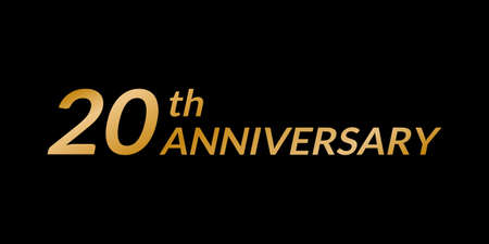 20 years anniversary design. 20th birthday celebration golden icon. Vector illustration.