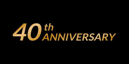 40 years anniversary design. 40th birthday celebration golden icon. Vector illustration.