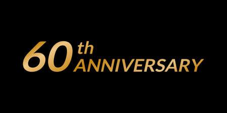 60 years anniversary icon. 60th birthday celebration golden icon illustration.