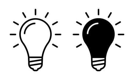 Lamp icon set. Light bulb sign. Idea, solution or innovation outline symbol. Vector illustration. Ilustração