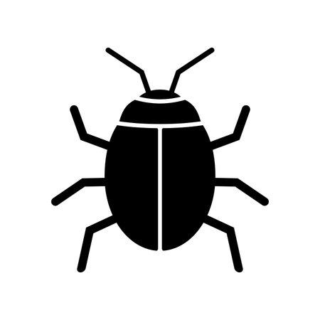 Bug icon. Beetle insect symbol. Computer virus logo. Vector illustration.