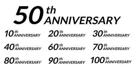 Anniversary design set. 10, 20, 30, 40, 50, 60, 70, 80, 90, 100 years birthday celebration icon. Vector illustration.